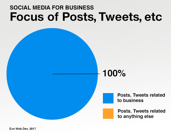 Pie chart showing percentage of business social media focused on business